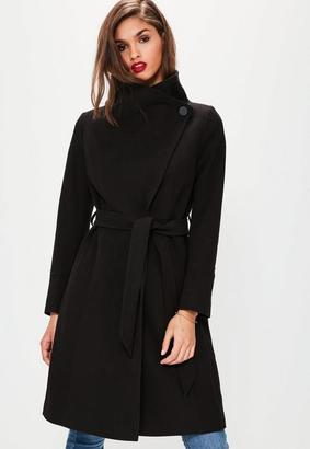 Black Waterfall Belted Funnel Neck Coat $72 thestylecure.com