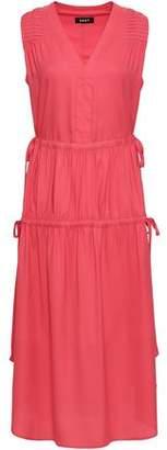DKNY Gathered Crepe De Chine Midi Dress