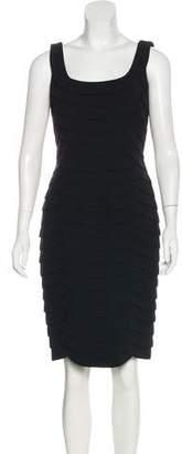 Carmen Marc Valvo Pleated Knee-Length Dress