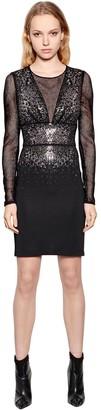 Just Cavalli Viscose Jersey & Mesh Dress W/ Crystals