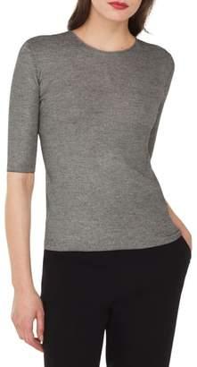 Akris Elbow Sleeve Silk & Wool Sweater