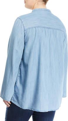 Melissa McCarthy Lace-Up Chambray Blouse, Plus Size