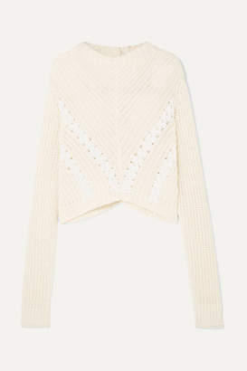 3.1 Phillip Lim Cropped Grosgrain-trimmed Ribbed Cotton Sweater - White