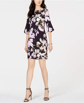 Vince Camuto Floral Bell-Sleeve Sheath Dress