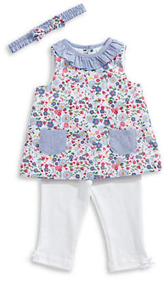 Little Me Little Girl's Floral Cotton Tunic, Leggings and Headband Set