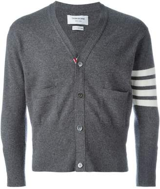 Thom Browne Short V-Neck Cardigan With 4-Bar Stripe In Medium Grey Cashmere