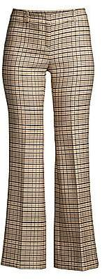 Michael Kors Women's Cropped Stretch Wool Plaid Trousers