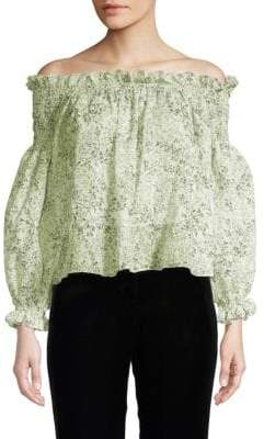 Giambattista Valli Floral Blouson Off-The-Shoulder Top