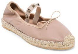Valentino Rockstud Leather Espadrille Ballet Flats $595 thestylecure.com