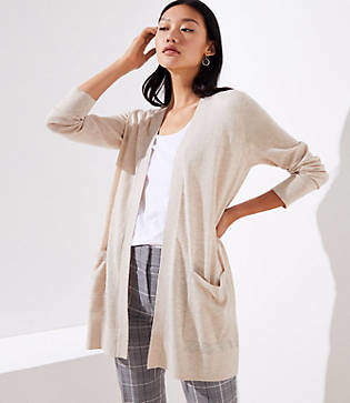 LOFT Petite Pocket Open Cardigan