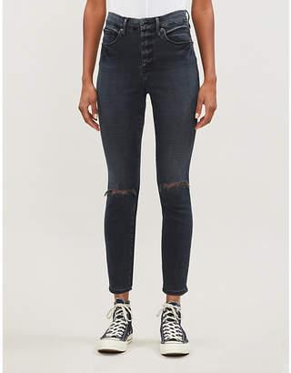 Good American Good Waist distressed stretch-denim jeans