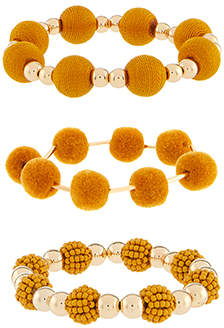 Accessorize Pom Pom Stretch Bracelet Pack