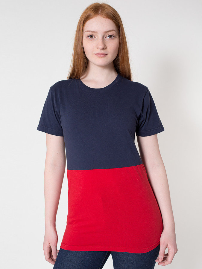 American Apparel Unisex Power Wash Colorblock T