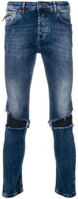Frankie Morello distressed biker panel slim fit jeans
