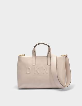 DKNY Tilly Small Zip Tote Bag in Caz Carnation Debossed Logo PU