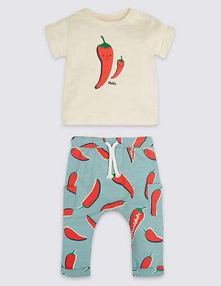 Marks and Spencer 2 Piece Chilli Jersey Top & Joggers Outfit
