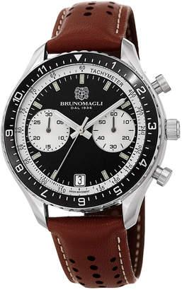 Bruno Magli 43mm Marco 1081 Chronograph Watch, Brown/Black