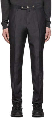 Burberry Grey Silk Linen Tailored Trousers