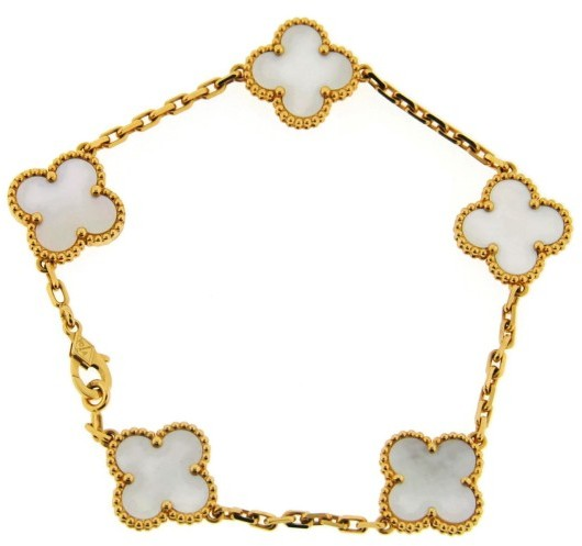 Van Cleef & ArpelsVan Cleef & Arpels 18K Yellow Gold Alhambra Mother Of Pearl Motif Bracelet