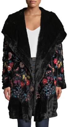 Johnny Was Gena Embroidered Faux-Fur Coat w/ Hood