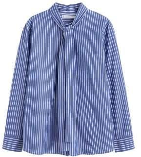 Violeta BY MANGO Striped bow cotton shirt