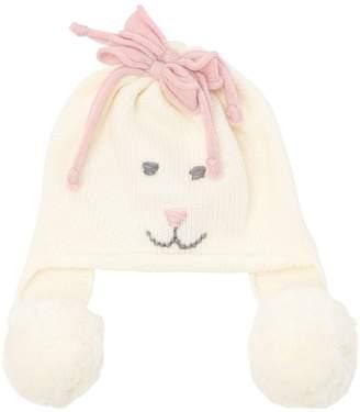 Merino Wool Knit Beanie Hat W/ Pompoms