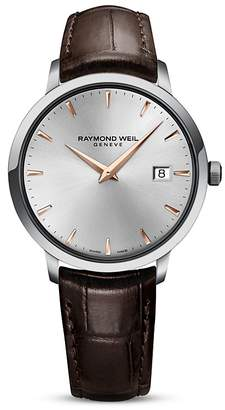 Raymond Weil Toccata Stainless Steel Watch with Brown Leather Strap, 39mm