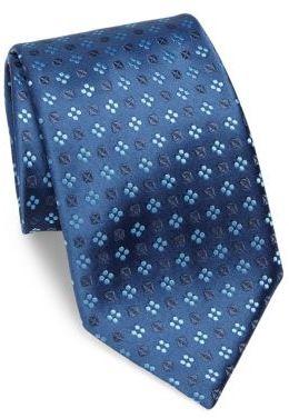CharvetCharvet Geometric Print Silk Tie