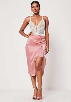 Missguided Petite Pink Ruched Split Slip Midi Skirt