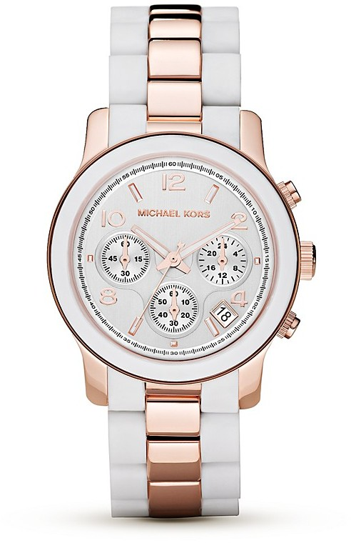 Michael Michael Kors Round White & Rose Gold Tone Watch, 39mm