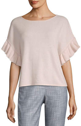 Saks Fifth Avenue Cashmere Ruffle T-Shirt