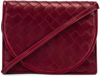 Bottega Veneta Woven Flap Leather Crossbody Bag in Bordeaux & Gold | FWRD