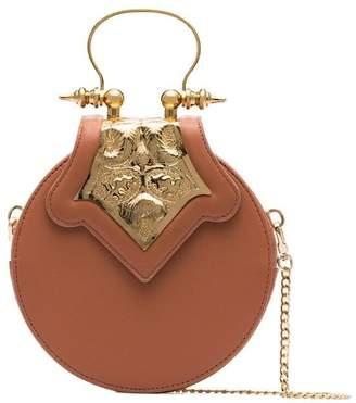 Okhtein bronze mini circle leather crossbody bag