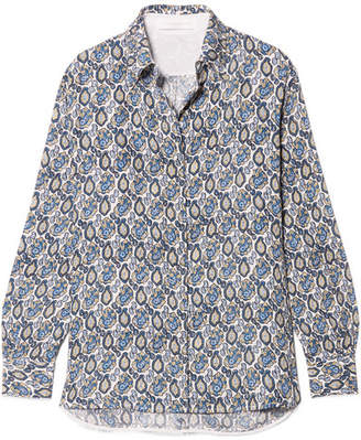 Victoria Beckham Printed Silk-crepon Shirt - Blue