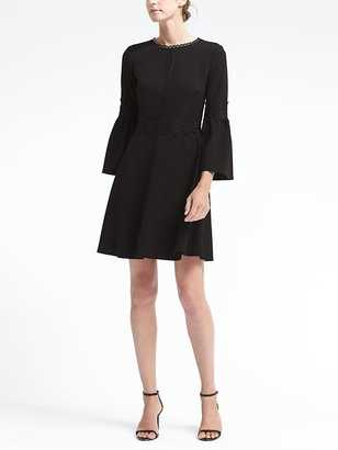Bell-Sleeve Fit-and-Flare Dress with Lace Trim $138 thestylecure.com