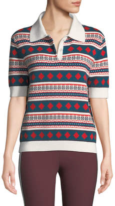 Carven Printed Short-Sleeve Polo Shirt