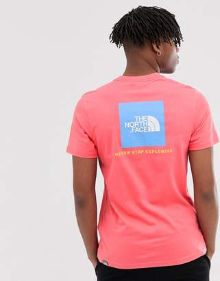 The North Face Red Box t-shirt in calypso coral