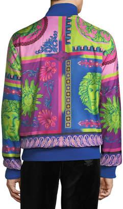 Versace Men's Printed Zip-Front Reversible Jacket