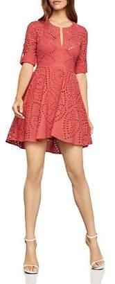 BCBGMAXAZRIA Eyelet Fit-and-Flare Dress