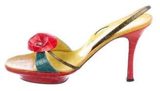 Rene Caovilla Embossed Leather Platform Sandals