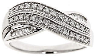 Abercrombie & Fitch Affinity Diamond Jewelry Crossover Diamond Ring, Sterling, 1/4cttw