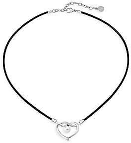 Majorica Men's Stainless Steel, Leather & 8MM White Round Man-Made Pearl Heart Pendant Necklace