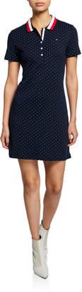 Modern American Designer Polka-Dot Short-Sleeve Cotton Polo Dress