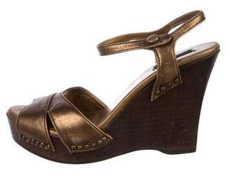 Prada Metallic Leather Wedges