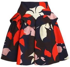 DELPOZO Ruffled Floral-print Cotton Skirt