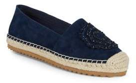 Karl Lagerfeld Paris Abby Embellished Leather Espadrilles