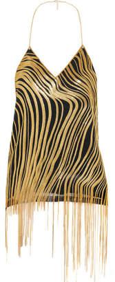 Chain-embellished Silk-crepe Halterneck Camisole - Gold