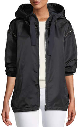 Moncler Cordierite Hooded Bejeweled Satin Jacket