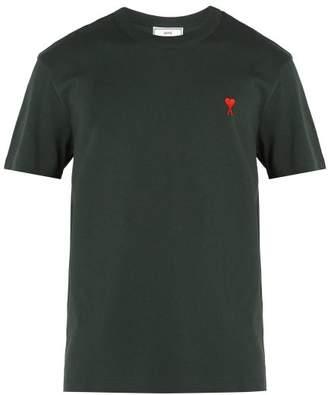 Ami De Coeur Embroidered Cotton T Shirt - Mens - Dark Green