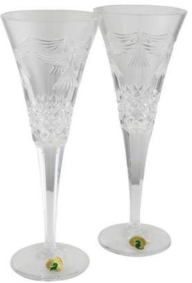 Waterford Pair of Millennium Peace Champagne Flutes